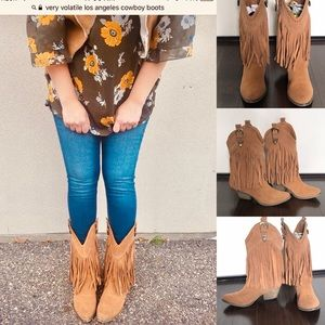 Very Volatile Suede Cowboy Fringe Festival Boots